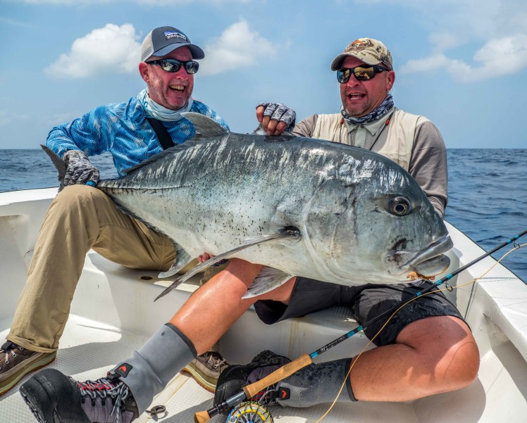 Fly fishing huge Giant Trevally